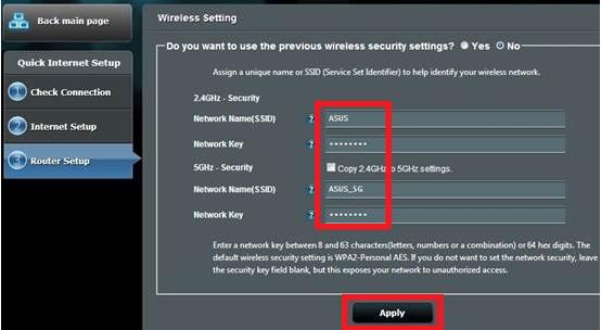 setare wifi router asus